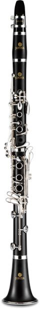 Jupiter JCL750SQ Bb Clarinet. Wooden body. Silver plated keys. Backpack case.